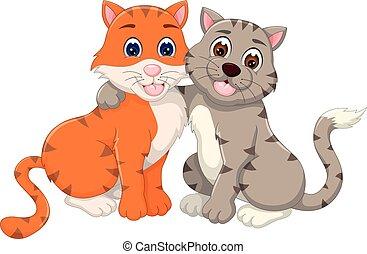 seduta, agganciare abbracciare, gatto, sorriso, cartone ...