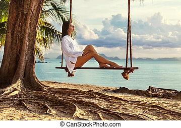 seduta, albero, palma, altalena, ragazza, spiaggia