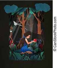 seduta, apple., neve bianca, illustrazione, racconto, vettore, costume, fronte, fata, ragazza, rosso, foresta