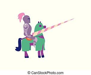 seduta, armatura, lancia, cavaliere, cavallo, cartone animato, presa a terra, metallo