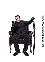 seduta, assassino, isolato, fondo., sedia, bianco