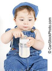 seduta, bambino, latte