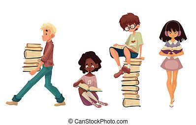 seduta, camminare, libri, set, lettura, bambini