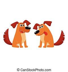seduta, cane, due, parlare, caratteri, ascolto