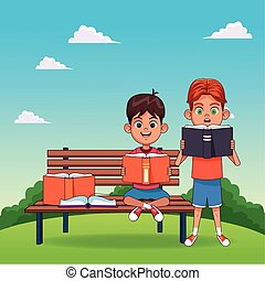 seduta, colorito, lettura, disegno, panca, libri, cartone animato, ragazzi