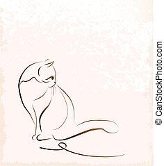 seduta, contorno, illustrazione, gatto