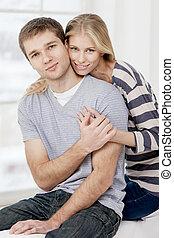 seduta, coppia, giovane, divano, caucasico, felice