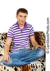 seduta, divano, ritratto, sorridente, tipo, contento, felice