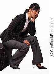 seduta, donna, bagaglio