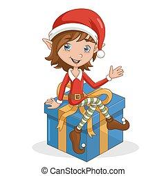 seduta, elfo, gift., natale