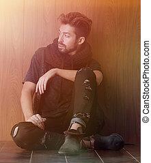 seduta, fashion., uomini, wall., maturo, uomo mattone, bello