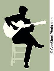 seduta, flamenco, gioco, chitarrista, sedia, spagnolo