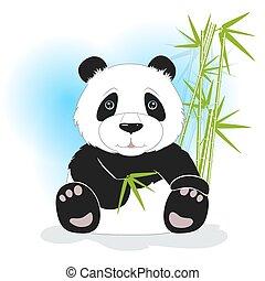 seduta, illustrazione, vettore, verde, panda, bambù