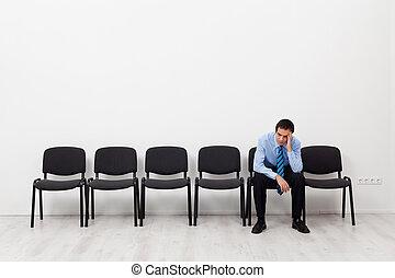 seduta, impiegato, disperato, solo, uomo affari, o