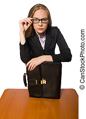 seduta, isolato, lungo, impiegato femmina, tavola, bianco