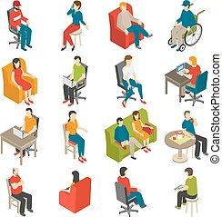 seduta, isometrico, set, icona, persone