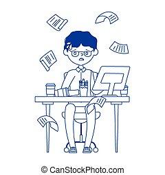 seduta, lavoro, esaurito, ufficio, uomo affari, stress