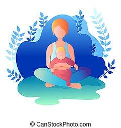 seduta, loto, illustrazione, vettore, position., mamma, bambino