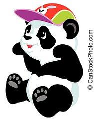 seduta, panda, cartone animato
