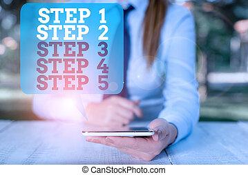 seduta, processo, nota, 4, mobile, 2, 5., livelli, 1, passo, 3, affari, showcasing, presa a terra, scrittura, passi, flusso, telefono., persona, lavoro, femmina, esposizione, tavola, foto
