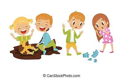 seduta, rottura, vaso, ragazza, vettore, illustrazione, birichino, fango, set, ragazzo