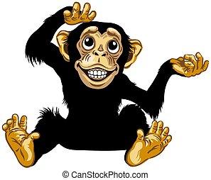 seduta, scimpanzé, cartone animato, felice