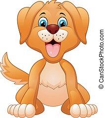 seduta, sciocco, cane, cartone animato