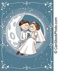 seduta, sposo, luna, sposa, vettore, cartone animato