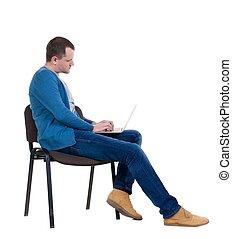 seduta, studio, laptop., sedia, uomo, vista laterale
