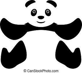seduta, vettore, panda, icona