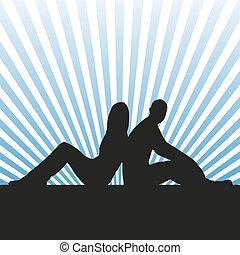 seduta, vettore, silhouette, coppia