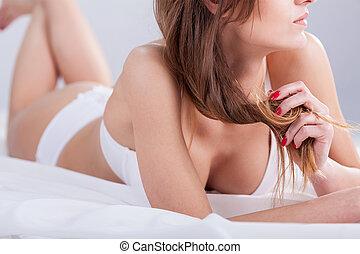 sedutor, mulher, cama