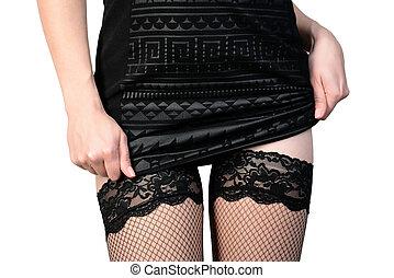 sedutor, mulher, meias