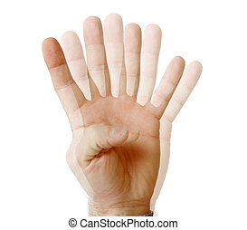 See fingers - many fingers seen on single hand isolated on...
