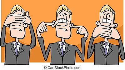 see hear speak no evil - Cartoon Humor Concept Illustration...
