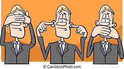 see hear speak no evil - Cartoon Humor Concept Illustration...