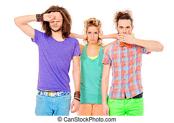 Two young men and a girl are standing by closing the mouth, ears and eyes. Isolated over white.