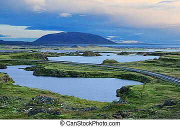 see, myvatn, in, nördlich , island