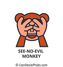 see no evil emoji vector line icon, sign, illustration on...