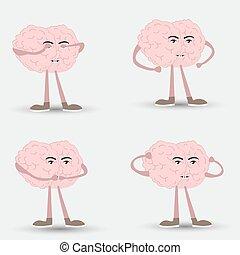 See no Evil, Hear no Evil, Speak no Evil. brain comic style. Three wise monkeys vector icons.