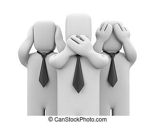 See no evil, hear no evil, speak no evil - business metaphor