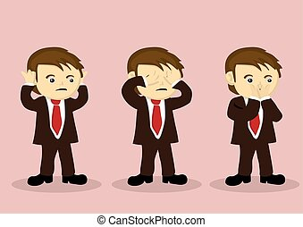 See No Evil Hear No Evil Speak No Evil Vector Cartoon Boy Character