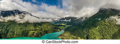 see, norway., panorama, natur, schöne , lovatnet