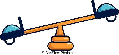 See saw icon, cartoon style - See saw icon. Cartoon ...