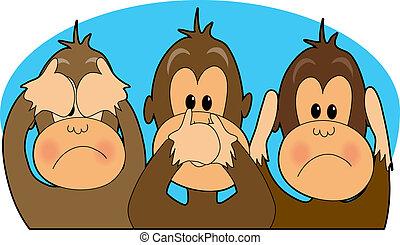Three monkeys - see, speak, hear no evil