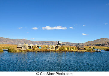 see, uros, titicaca, schilfgras, inseln, schwimmend