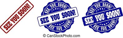 SEE YOU SOON! Grunge Stamp Seals - SEE YOU SOON! scratched...