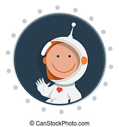 See you soon, honey - Cute flat style astronaut with heart...