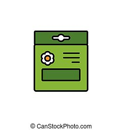 Seed bag. Filled color icon. Gardening vector illustration...