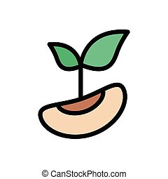 seed flat color icon